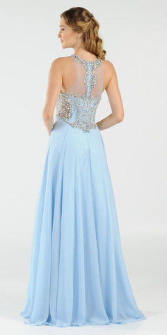 Rhinestone Embellished Bodice A-Line Long Formal Dress Blue Back View