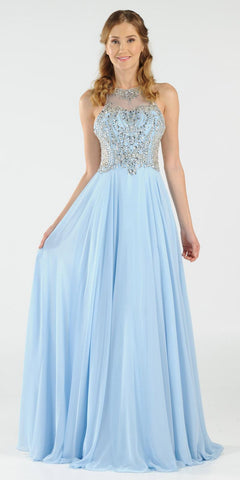 Rhinestone Embellished Bodice A-Line Long Formal Dress Blue