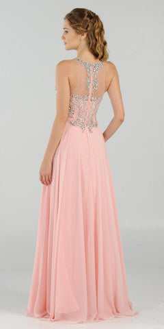 Rhinestone Embellished Bodice A-Line Long Formal Dress Blush Back View