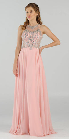 Rhinestone Embellished Bodice A-Line Long Formal Dress Blush