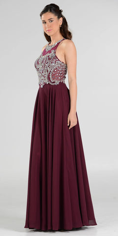 Rhinestone Embellished Bodice A-Line Long Formal Dress Burgundy