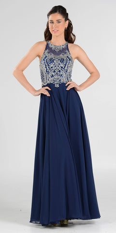 Rhinestone Embellished Bodice A-Line Long Formal Dress Navy
