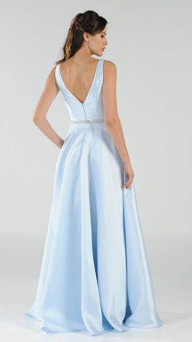 Poly USA 7916 Blue V-Neck A-Line Mikado Prom Gown with Embellished Waist Back View