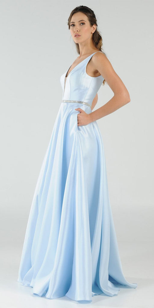 Poly USA 7916 Blue V-Neck A-Line Mikado Prom Gown with Embellished Waist Side View