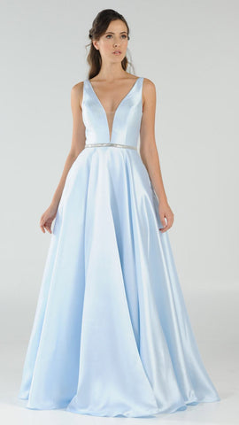 Poly USA 7916 Blue V-Neck A-Line Mikado Prom Gown with Embellished Waist