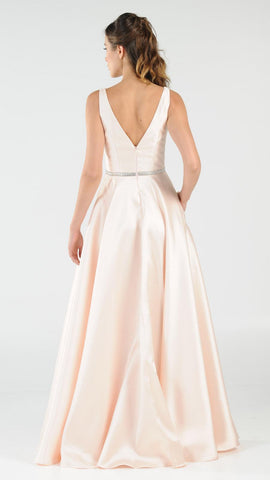 Poly USA 7916 Champagne V-Neck A-Line Mikado Prom Gown with Embellished Waist Back View