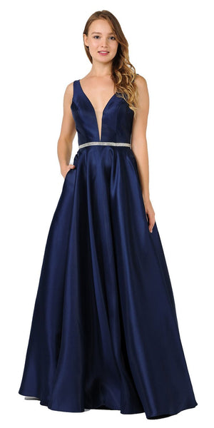 Poly USA 7916 Navy Blue V-Neck A-Line Mikado Prom Gown with Embellished Waist Back View