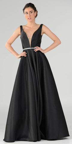 Black V-Neck A-Line Mikado Prom Gown with Embellished Waist