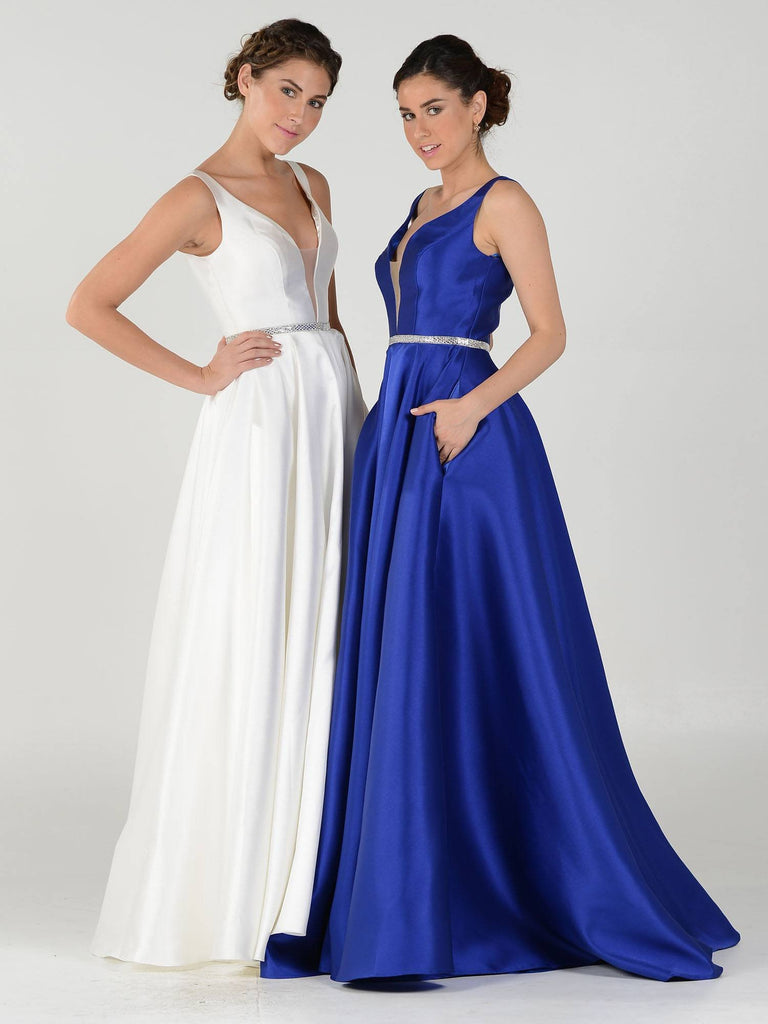 Combo V-Neck A-Line Mikado Prom Gown with Embellished Waist