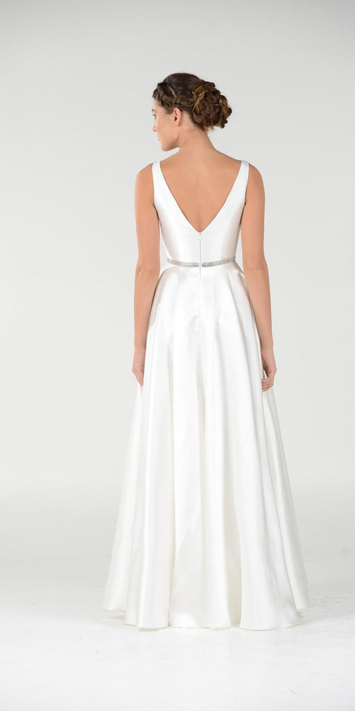 Off White V-Neck A-Line Mikado Prom Gown with Embellished Waist
