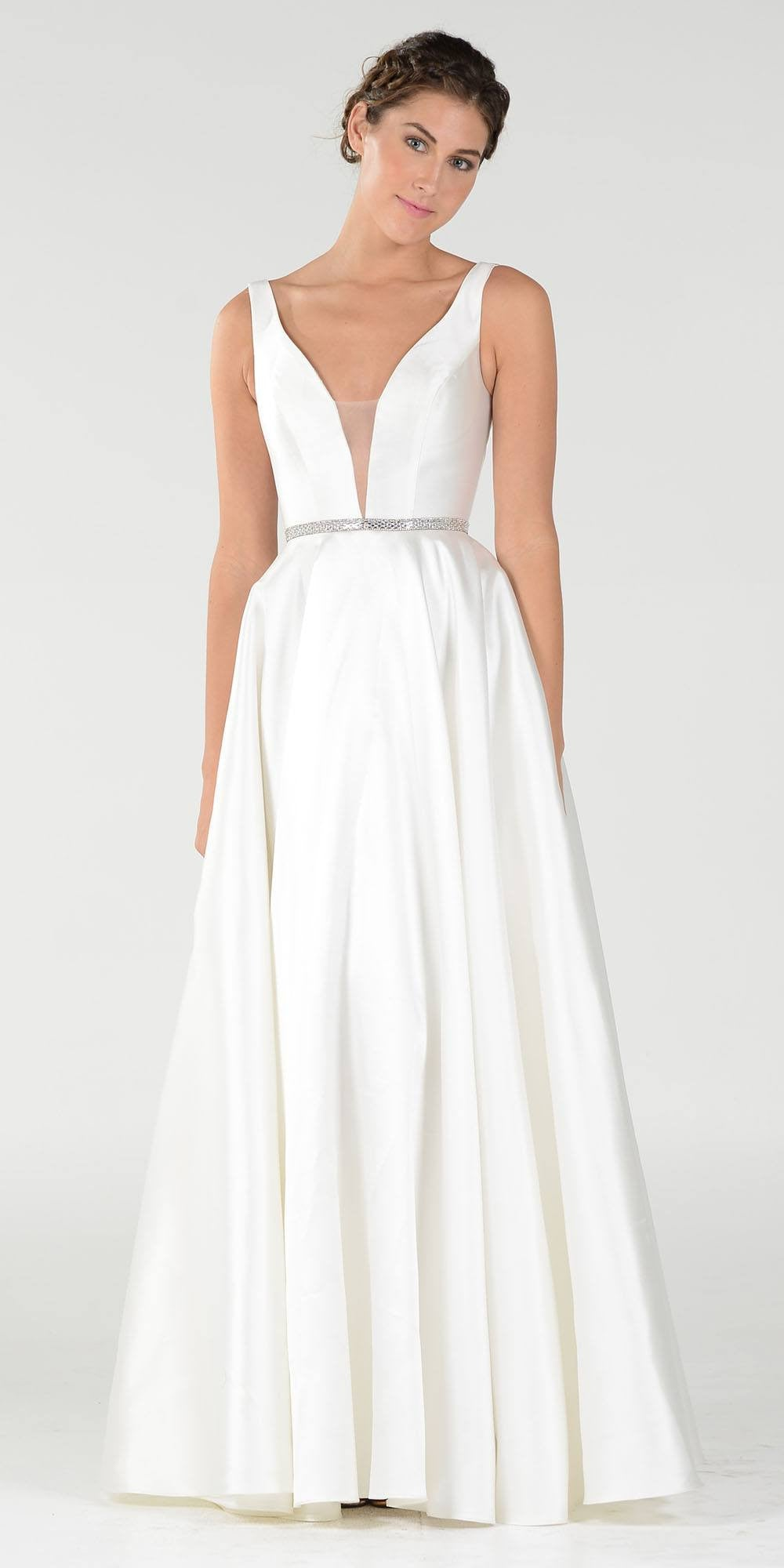 Off White V Neck A Line Mikado Prom Gown With Embellished Waist