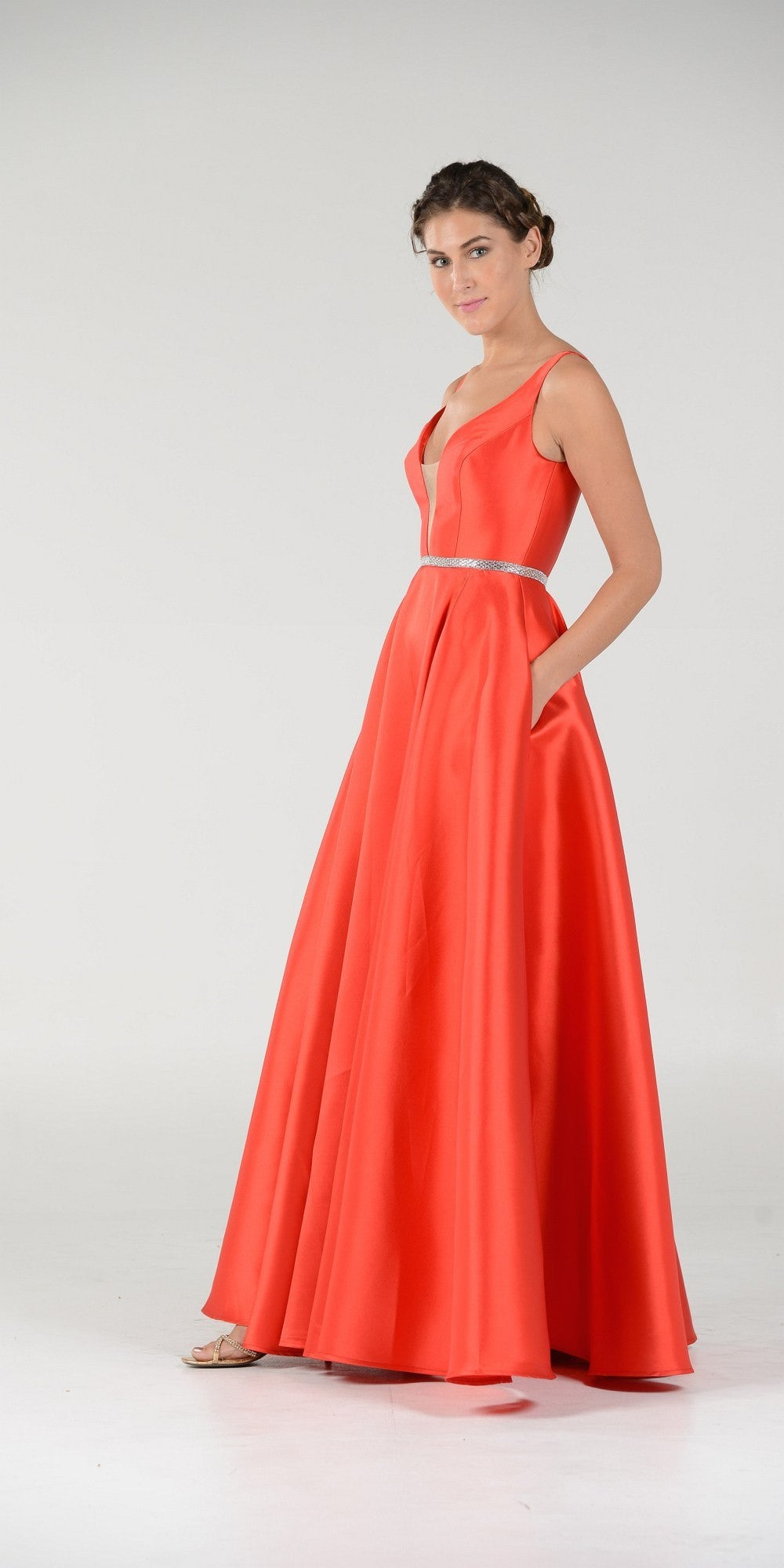Red V-Neck A-Line Mikado Prom Gown with Embellished Waist ...