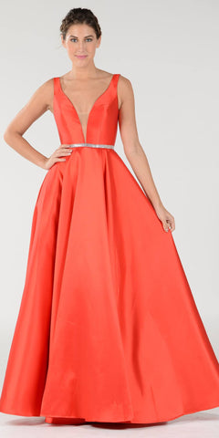 Red V-Neck A-Line Mikado Prom Gown with Embellished Waist