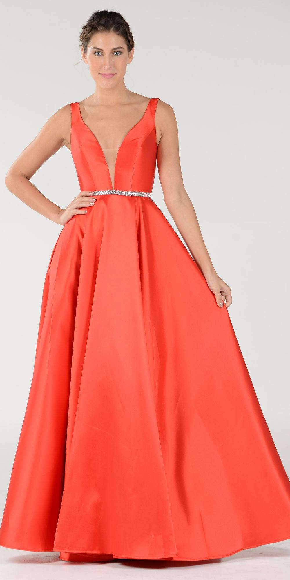 68cdd53a7a5e Red V-Neck A-Line Mikado Prom Gown with Embellished Waist. Tap to expand
