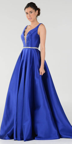 Royal Blue V-Neck A-Line Mikado Prom Gown with Embellished Waist
