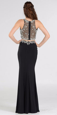 Two-Piece Black Prom Gown with Embellished Crop Top and ITY Skirt