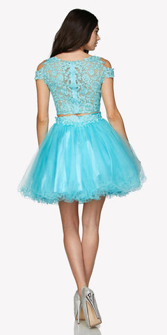 Two-Piece Appliqued Homecoming Short Dress Cold Shoulder Turquoise