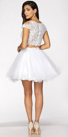 Two-Piece Appliqued Homecoming Short Dress Cold Shoulder White