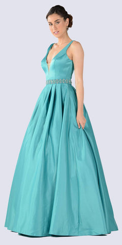 Embellished Waist Plunging V-Neck Green Satin Ball Gown A-Line