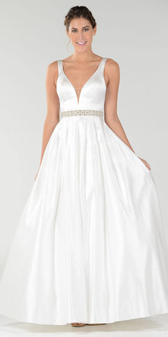 Embellished Waist Plunging V-Neck Off White Satin Ball Gown A-Line