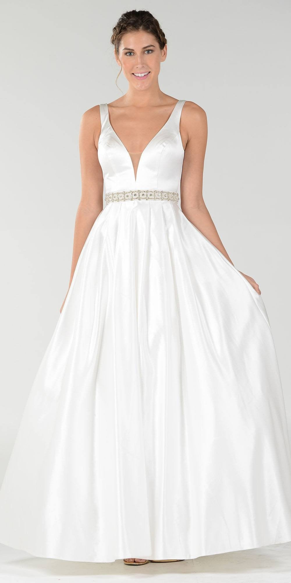 White Satin Dress Ball Gowns