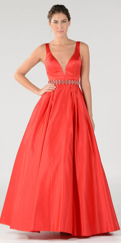 Embellished Waist Plunging V-Neck Red Satin Ball Gown A-Line