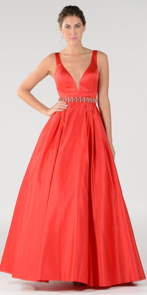 Poly USA 7932 Embellished Waist Plunging V-Neck Red Satin Ball Gown A-Line