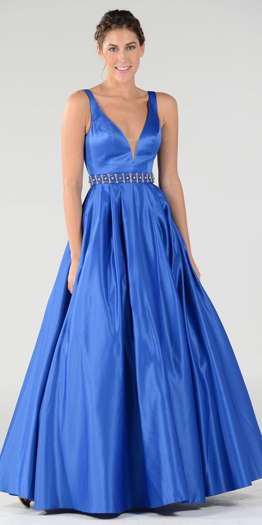 Poly USA 7932 Embellished Waist Plunging V-Neck Royal Blue Satin Ball Gown A-Line