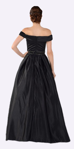 Poly USA 7932 Embellished Waist Plunging V-Neck Black Satin Ball Gown A-Line