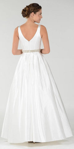 Poly USA 7932 Embellished Waist Plunging V-Neck Off White Satin Ball Gown A-Line