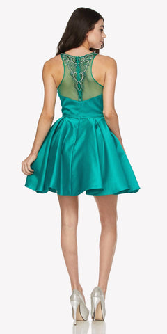 Green Beaded Scoop Neck Short Satin Prom Dress Illusion Back Sleeveless