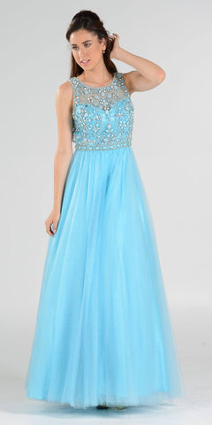 Cut-Out Back Beaded Illusion Bodice Mesh Ball Gown Sleeveless Blue