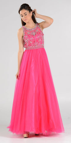 Cut-Out Back Beaded Illusion Bodice Mesh Ball Gown Sleeveless Fuchsia