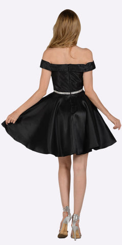 Black Off Shoulder A-Line Short Homecoming Dress