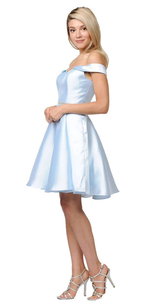 Poly USA Light Blue Off Shoulder A-Line Short Homecoming Dress Back View