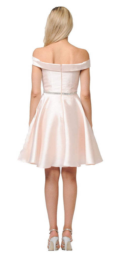 Poly USA Light Champagne Off Shoulder A-Line Short Homecoming Dress  Back View