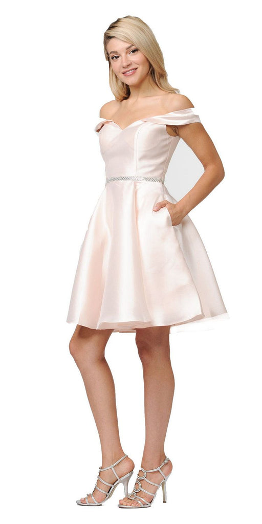 Poly USA Light Champagne Off Shoulder A-Line Short Homecoming Dress