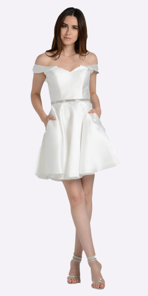 Off White Off Shoulder A-Line Short Homecoming Dress