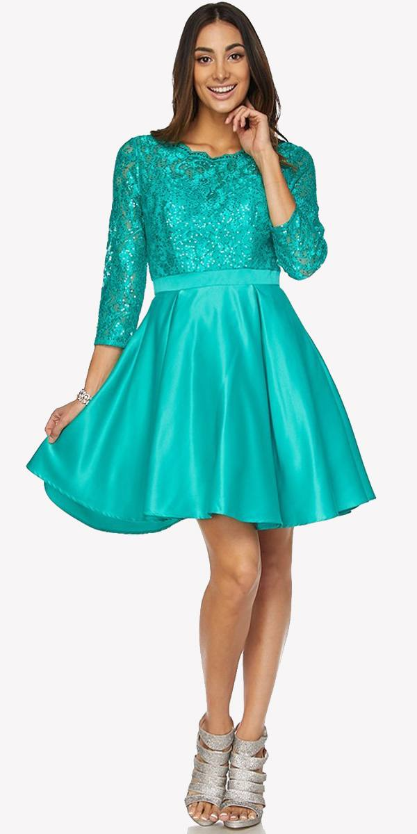 Lace Sequins Top Mid Length Sleeves A Line Short Prom Dress Jade