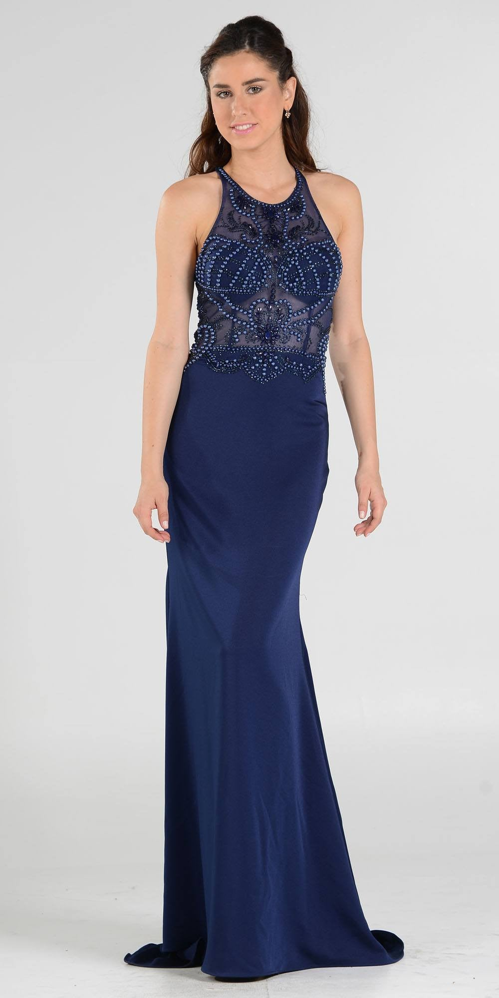 Sheer Beaded Bodice Racer Cut-Out Back Mermaid Evening Gown Navy ...
