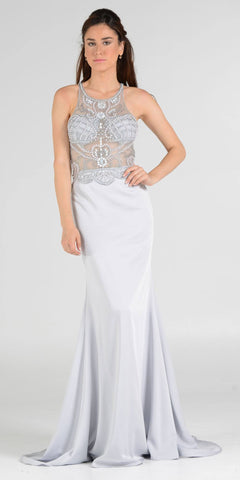 Sheer Beaded Bodice Racer Cut-Out Back Mermaid Evening Gown Silver