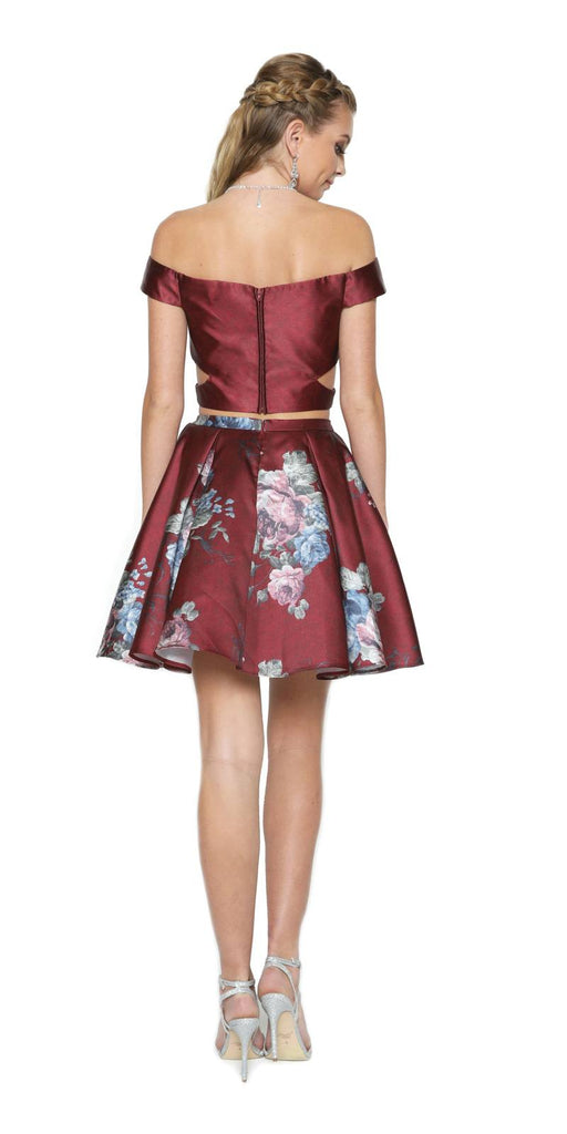 Burgundy Print Skirt Two-Piece Homecoming Dress Off-Shoulder