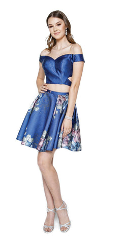Navy Blue Print Skirt Two-Piece Homecoming Dress Off-Shoulder