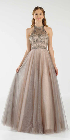 High Neckline Beaded Long Prom Dress Illusion Back Champagne