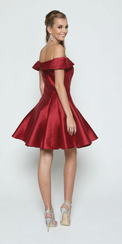 Burgundy Off-the-Shoulder Homecoming Party Dress