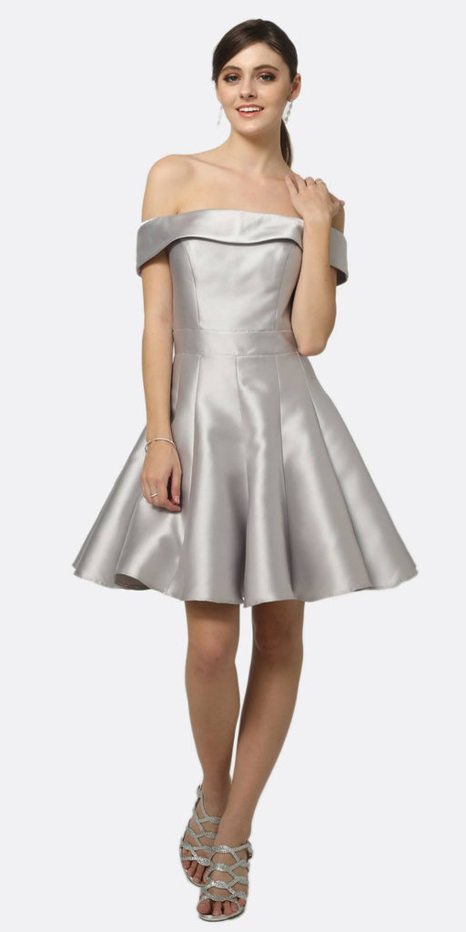 Juliet 799 Silver Off-the-Shoulder Homecoming Party Dress