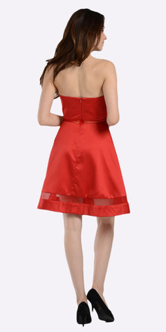 A-line Strapless Homecoming Dress Sweetheart Neckline Red