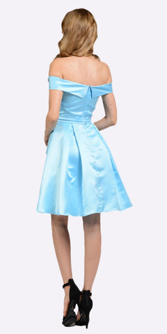 Off Shoulder A-line Homecoming Dress with Pockets Light Blue