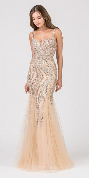 Eureka Fashion 8000 Rhinestone Embellished Mermaid Prom Gown Gold