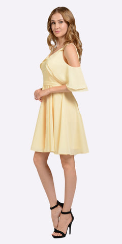 Yellow Short Party Dress Cold Shoulder with Flutter Sleeves